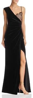 BCBGMAXAZRIA Asymmetric Velvet Gown