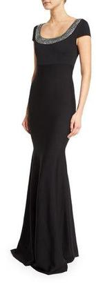 St. John Collection Sequined Milano Knit Cap-Sleeve Gown, Caviar/Crystal $1,795 thestylecure.com