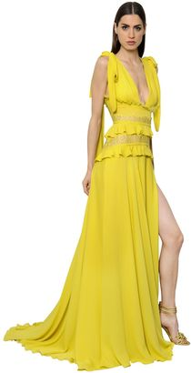 Ruffled Crepe Georgette & Lace Dress $5,650 thestylecure.com