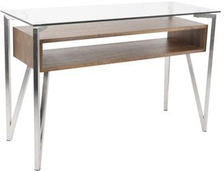 Lumisource Hover Contemporary Console Table with Brushed Stainless Steel Frame, Walnut Wood Shelf, and Clear Glass Top