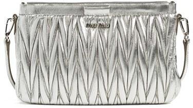 Miu MiuMiu Miu Small Matelasse Leather Clutch - Metallic