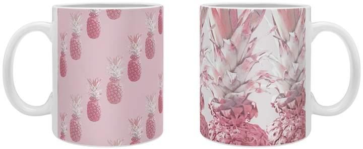 Deny Designs Pineapple Blush Rose and Pineapple Blush Jungle Ceramic Coffee Mugs (Set of 2)
