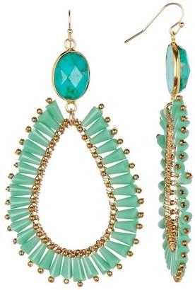 Panacea 14K Gold Green Agate Teardrop Earrings