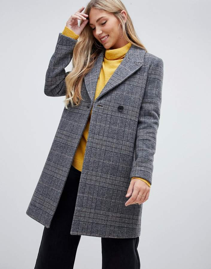 longline coat in check