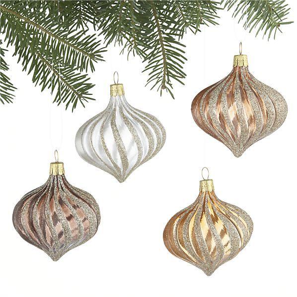 Crate & Barrel Metallic Ribbon Glitter Drop Ornaments Set of Four