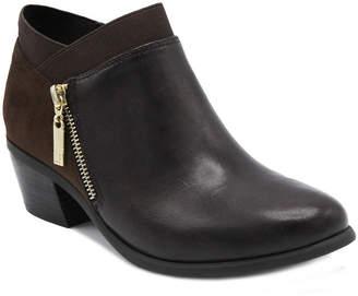 London Fog Womens Zip Harper Bootie Stacked Heel