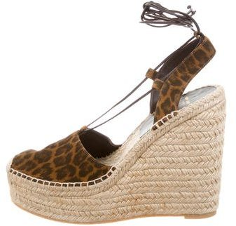 Saint Laurent Saint Laurent Leopard Espadrille Wedges