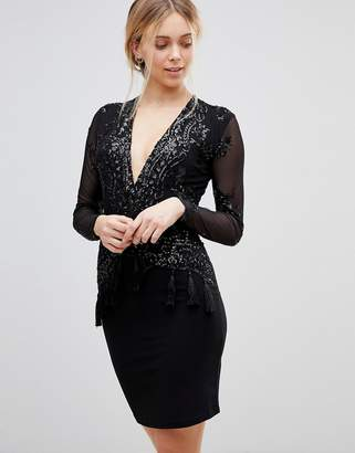 Girls On Film Sequin Dress with Plunge Neck and Tassel Detail