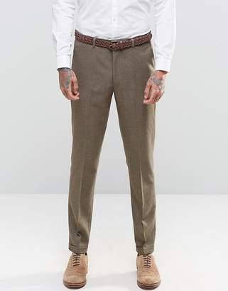 Asos DESIGN Slim Suit Pants In Brown Tweed