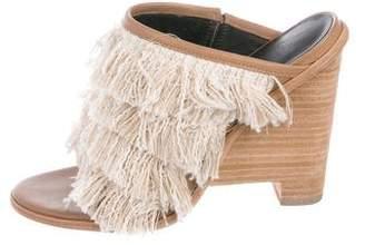 Tibi Fringe Peep-Toe Wedge Sandals