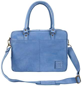 MAHI Leather - Suede Leather Oxford Zip-Up Satchel Briefcase Bag In Vintage Blue