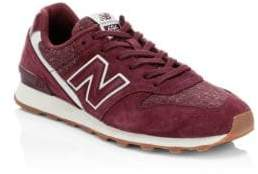 New Balance Women's Commercial 696 Suede Knit Sneakers - Burgundy - Size 5.5