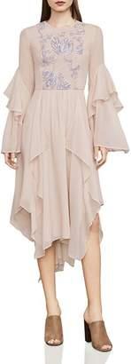 BCBGMAXAZRIA Nel Embroidered Ruffled Dress