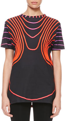 Christopher Kane Grid Face Digital T-Shirt, Black/Red/Pink