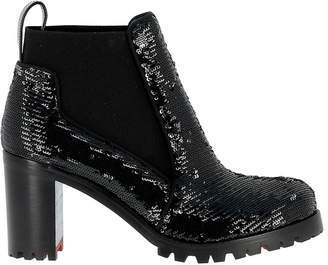 Christian Louboutin Black Sequins Ankle Boots