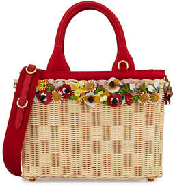 pradaPrada Midollino Garden Flowers Straw Basket Bag