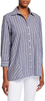 a16a8a8ab89 Finley Plus Size Reverse Pinstripe Button-Front 3/4-Sleeve Trapeze Shirt