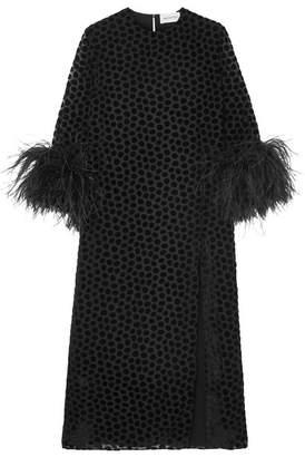 16ARLINGTON - Feather-trimmed Flocked Tulle Midi Dress - Black