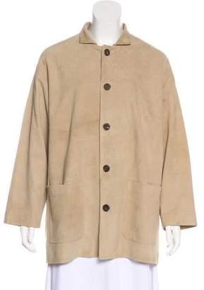 eskandar Suede Button-Up Coat