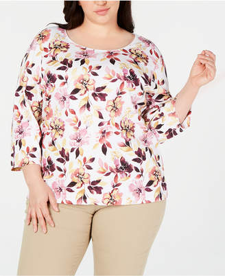 Karen Scott Plus Size Printed Scoop-Neck Top