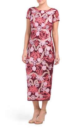 Short Sleeve Floral Soutache Midi Dress