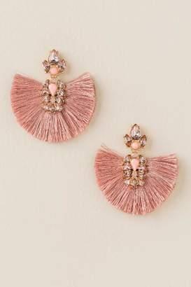 francesca's Monica Blush Fan Drop Earrings - Rose