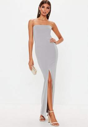 Missguided Gray Bandeau Split Front Maxi Dress