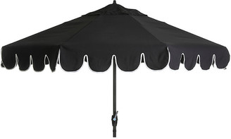 One Kings Lane Phoebe Scallop-Edge Patio Umbrella - Black