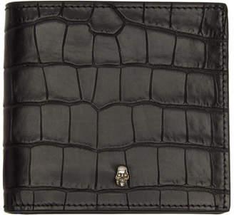 Alexander McQueen Black Croc 8CC Bifold Wallet