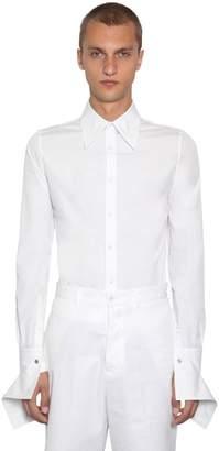 Alexander McQueen Cotton Popeline Shirt W/ Pointed Collar