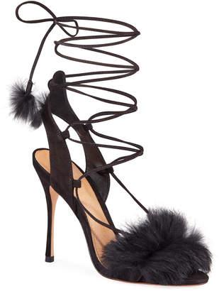 Schutz Lori Suede Faux-Fur Ankle Tie Evening Sandals