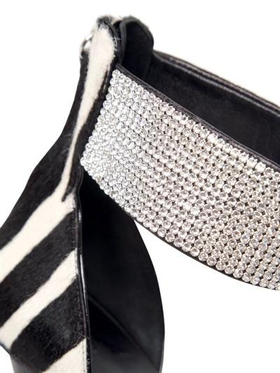 Giuseppe Zanotti 120mm Ponyskin Patent Swarovski Sandals