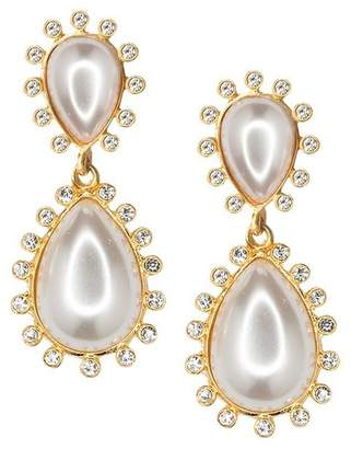 Kenneth Jay Lane White Drop Pearl Teardrop Pierced Or Clip Earrings