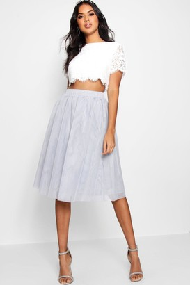 boohoo Woven Lace Top & Contrast Midi Skirt Co-Ord