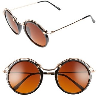Women's Spitfire A-Teen Round Sunglasses - Black/ Gold/ Brown $39 thestylecure.com