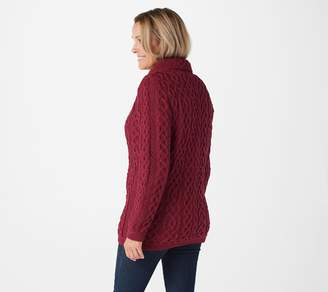Aran Craft Zip Front Sweater Cardigan with Pockets