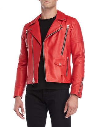 Moto Beautiful Ful Red Embroidered Leather Jacket