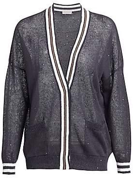 Brunello Cucinelli Women's Linen& Silk Contrast Paillette Cardigan