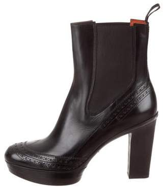 Santoni Leather Round-Toe Ankle Boots Black Leather Round-Toe Ankle Boots