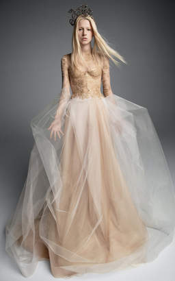 Vera Wang Maria Theresa Tulle A-Line Long Sleeve Gown With Chantilly Lace Bodice