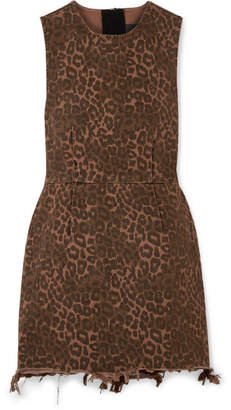 Alexander Wang Frayed Leopard-print Cotton-twill Mini Dress - Leopard print