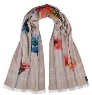 Fraas Painted Floral Houndstooth Cotton Scarf