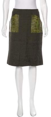 Tom Ford Leather-Accented Knee-Length Skirt w/ Tags