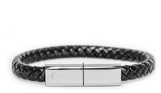 Torro Bracelets Charging Cable Black Single Braided and Chrome Plate Band