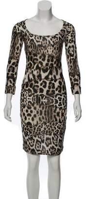 Just Cavalli Long Sleeve Animal Print Dress