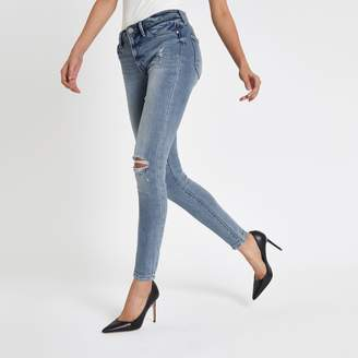 River Island Womens Light Blue Molly rip mid rise jeggings