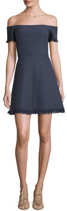 Rebecca Taylor Off-the-Shoulder Suiting Fit & Flare Dress, Blue $495 thestylecure.com
