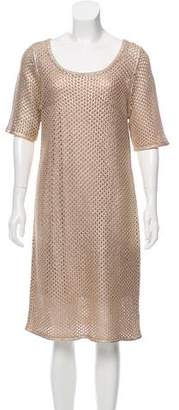 Josie Natori Metallic-Accented Knit Dress