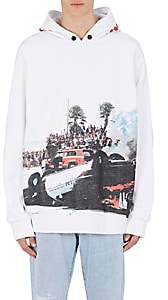 Palm Angels Men's Burning-Car-Print Cotton Hoodie - White