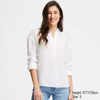 Uniqlo WOMEN Premium Linen Skipper Collar Long Sleeve Shirt